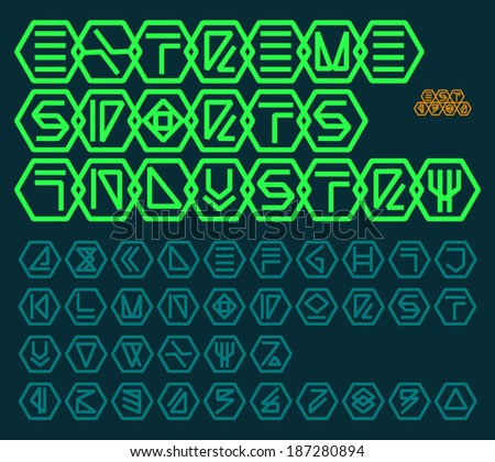futuristic unreadable alphabet