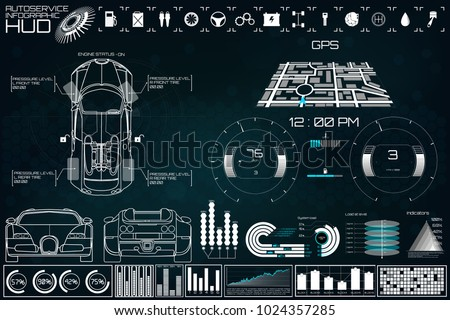 Futuristic user interface. Car service in the style of HUD. Virtual graphical interface Ui HUD Autoscanning, analysis and diagnostics, Abstract vector science. Car auto service infographics.repair #1024357285