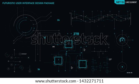 Futuristic user interface design element text box scale and bar for cyber and technology concept against dark background, screen ratio 16:9, vector illustration