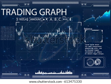 Futuristic user interface for trading applications. Touch interface. Abstract virtual graphic touch user interface. HUD. Blue and white elements. Web elements