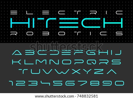 Futuristic vector Font design. Digital Virtual Reality Technology typeface. Letters and Numbers for Computers, Dron Robot Hi-tech themes.