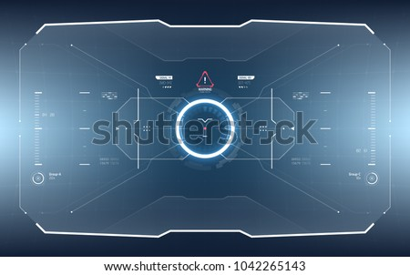 Futuristic Vector HUD Interface Screen Design. Sci-Fi Virtual Reality Technology View Display