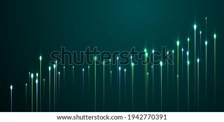 Futuristic vertical line rays fiber optics vector. Tech neon teal flash particles. Electronic industry lines shift up visual design. Fiber optics modern backdrop.