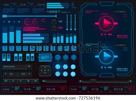 Futuristic virtual graphic touch user interface, scale, table with columns, music player interface, video player interface