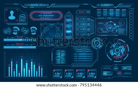 Futuristic Virtual Graphic User Interface, HUD Elements - Illustration Vector