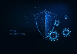 Futuristic virus protection concept with glowing low polygonal shield and virus cells on dark blue background. Antibiotic, vaccination against coronavirus. Modern wireframe design vector illustration.