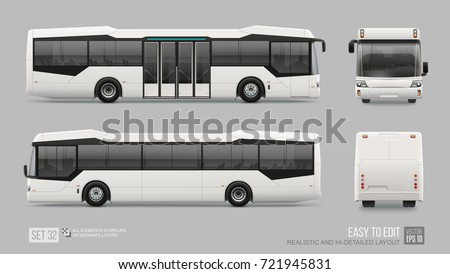 Futuristic White City Bus Mockup template isolated on grey background. Passenger Transport for brand identity and advertising design. Blank surface Low Floor City Bus Mockup