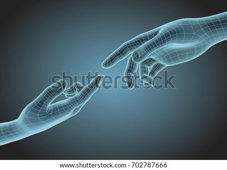 futuristic wireframe human
