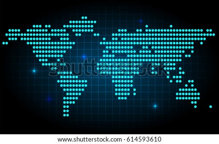 World map made with dots descargue grficos y vectores gratis futuristic world map made with dots with spot lights on dark background gumiabroncs Choice Image