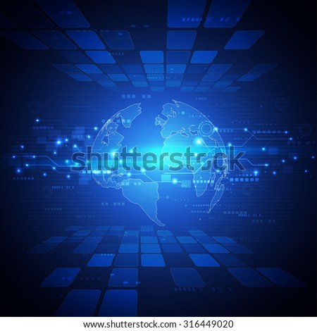 futuristic world network communication and technology concept motion flow background, vector illustration