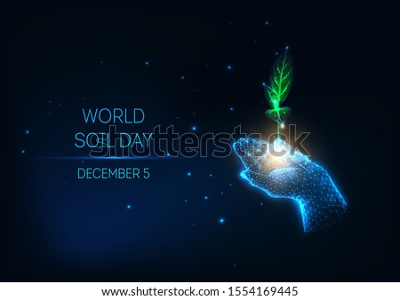 Futuristic World Soil Day concept with glowing low poly human hand holds green sprout on dark blue background. Sustainable growth and development. Modern wire frame mesh design vector illustration.