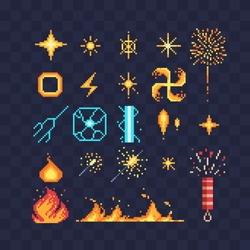 Fx light effects energy symbols pixel art icons. Electric lightning bolt. Bright light flare and sparks. Bengal fire fireworks and sparkler isolated vector illustration. Game assets 8-bit sprite sheet