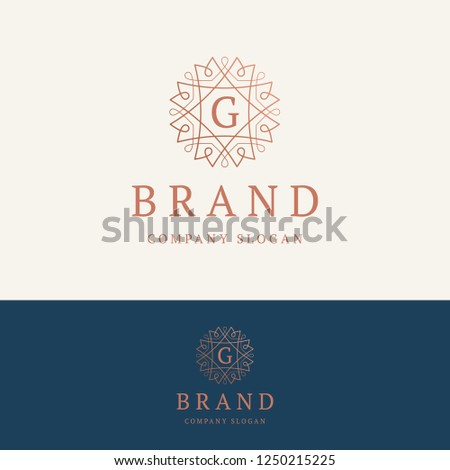 G brand logo. Ornamental monogram template. Round linear logo with letter G