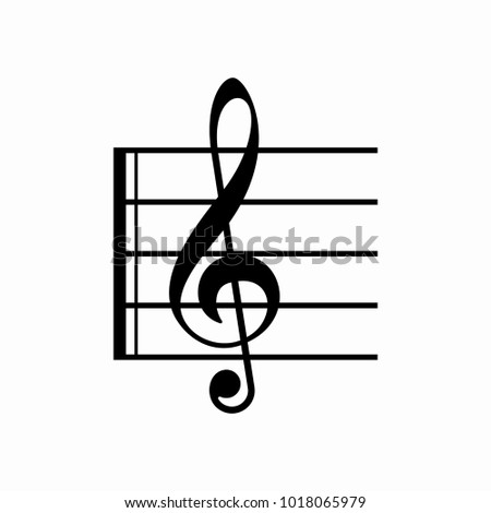G-Clef icon vector collection, G-clef with play button icon, colourful G-clef vector