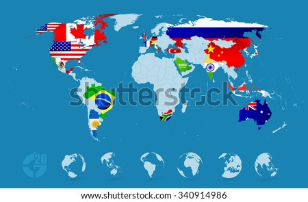 Brazil flag and map vectors download free vector art stock g20 country flags on detailed world map gumiabroncs Images