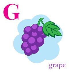 G is for grape illustration alphabet