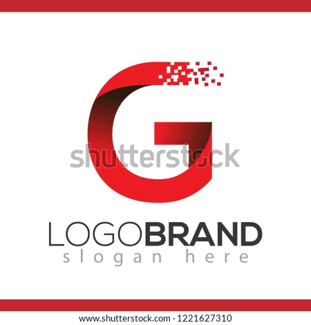 G letter data tech logo concept. letter with data vector template