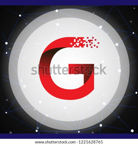 G Letter data tech logo concept with tech Background. letter with data vector template