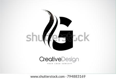 G Letter Design Brush Paint Stroke. Letter Logo with Black Paintbrush Stroke.