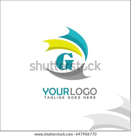 G letter logo. Abstract colorful wave brand identity. Unity people concept design.