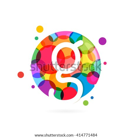 G letter logo in circle with rainbow dots. Font style, vector design template elements for your application or corporate identity.