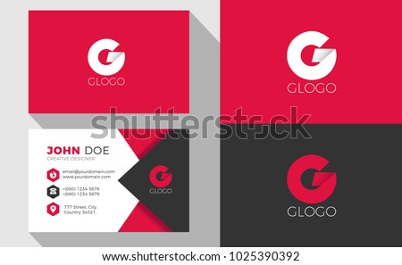G Origami Style Letter Logo With Professional Business Card