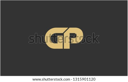 G, P, G P, P G Letter Creative Minimal Abstract Unique Luxury Style Premium Graphic Alphabet Icon Vector Logo Design Template Element in Golden color with Gray background. Stock fotó ©