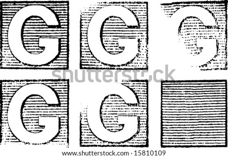 G part of a complete alphabet of vintage rubber stamp letters