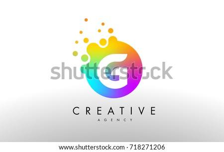 G Rainbow Dots Letter Logo. Letter Design Vector with Colorful Dots Bubbles.
