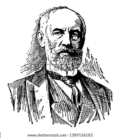G. Stanley Hall, 1846-1924, he was an American psychologist and educator, vintage line drawing or engraving illustration