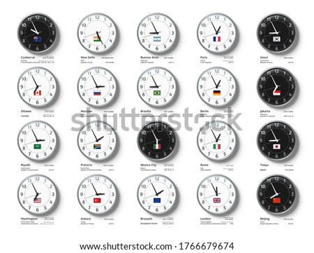 G20 Time Zones. Wall clocks with flags and time of Group of Twenty countries, UTC time compare and time zone composition realistic 3D vector illustration