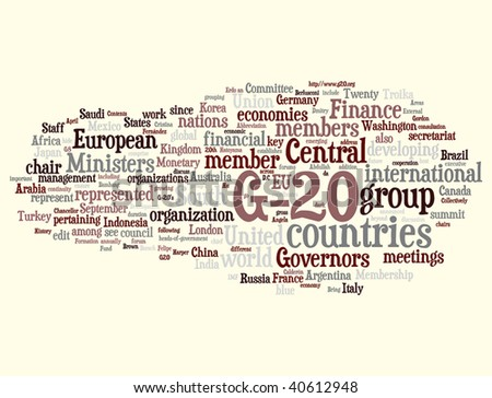 G-20 word cloud illustration. Graphic tag collection.