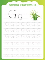 G writing practice for kids. Cartoon Illustration of grass. Preschool educational alphabet writing practice for kids. Writing book pages for kids. Uppercase and lowercase alphabet writing practice.
