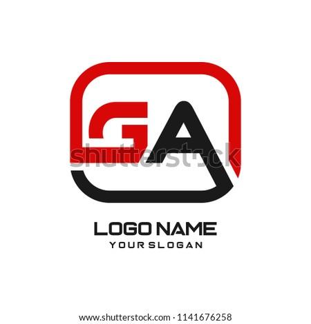 GA initial box letter logo template vector Stock fotó ©