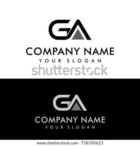 ga initial letters elegant logo