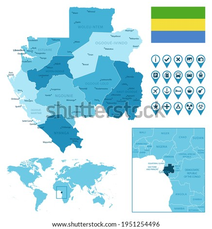 Gabon detailed administrative blue map with country flag and location on the world map. Zdjęcia stock ©