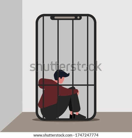 Gadget addiction concept. Lonely guy imprisoned in cage inside of mobile phone, vector illustration in flat style Stock foto ©