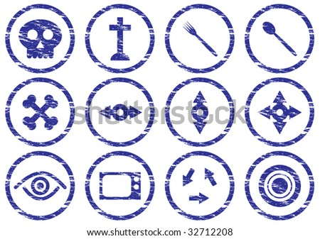 gadget icons set grunge white