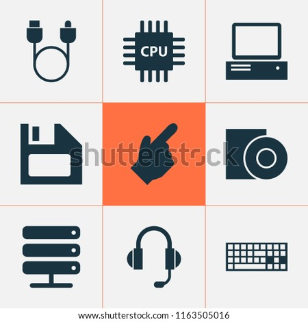 Gadget icons set with cursor, floppy disk, server and other diskette elements. Isolated vector illustration gadget icons.