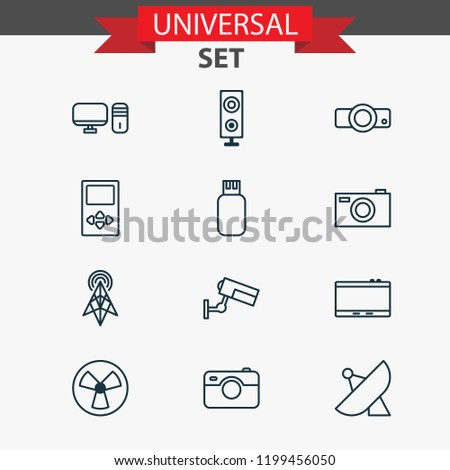 Gadget icons set with tablet, projector, sputnik and other usb elements. Isolated vector illustration gadget icons.