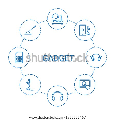 gadget icons. Trendy 8 gadget icons. Contain icons such as listening device, earphones, phone and earphones, arm lever, home on tablet, memory card. gadget icon for web and mobile.
