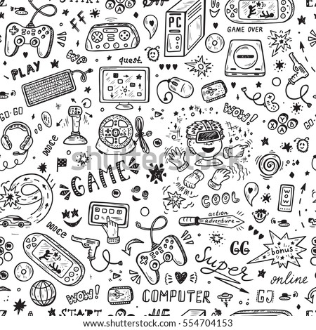 Gadget icons Vector Seamless pattern. Hand Drawn Doodle Computer Game items. Video Games Background.
