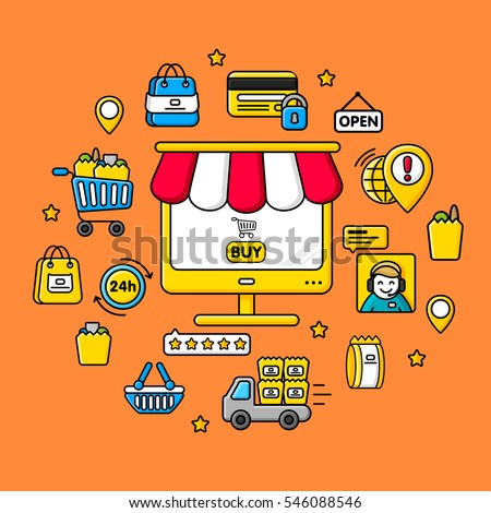 Gadget internet shop, E-commerce, online shop on screen. Colored flat line vector illustration.