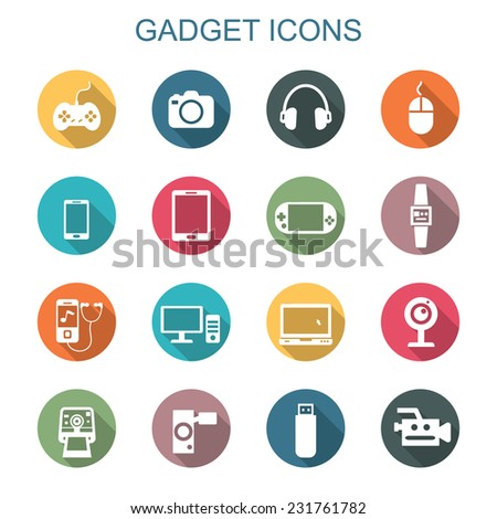 gadget long shadow icons  flat