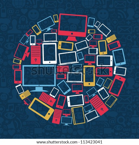 Gadgets icons circle shape over social media pattern background. Vector illustration layered for easy manipulation and custom coloring.