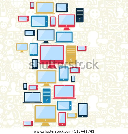 Gadgets icons seamless pattern over social media background. Vector illustration layered for easy manipulation and custom coloring.