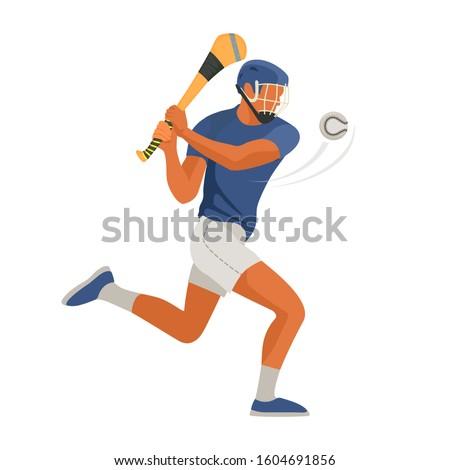 Gaelic game player play Irish Hurley sport. Vector