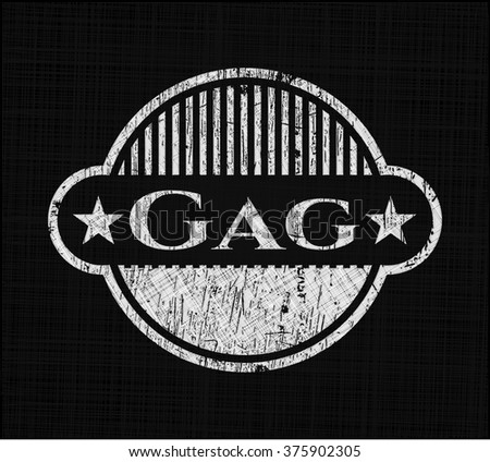 Gag chalkboard emblem on black board