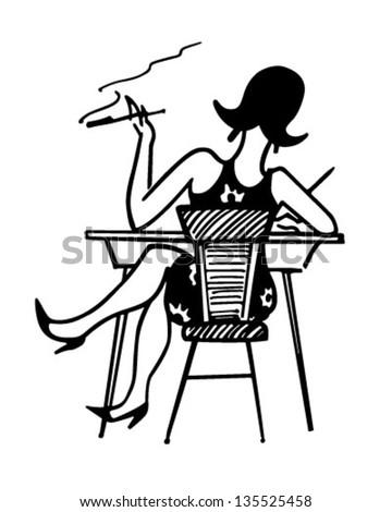 Gal Working At Desk - Retro Clip Art Illustration