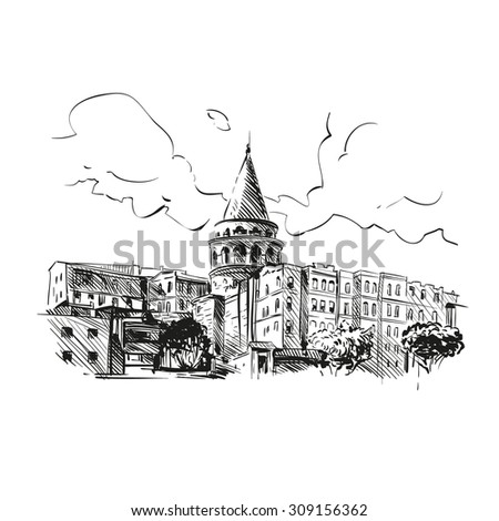 galata tower hand drawn  vector